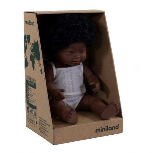 Miniland Doll - Anatomically Correct Baby, African Down Syndrome Girl, 38 cm