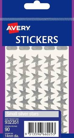 AVERY - Stickers - Small Silver Stars - Pack of 90