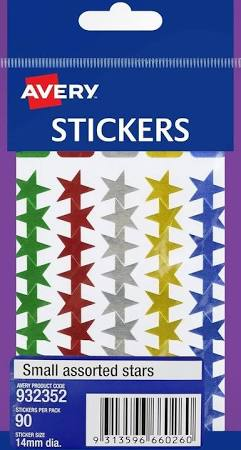 AVERY - Stickers - Small Assorted Stars - Pack of 90