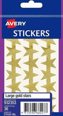 AVERY - Stickers - Large Gold Stars - Pack of 36
