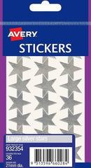 AVERY - Stickers - Large Silver Stars - Pack of 36