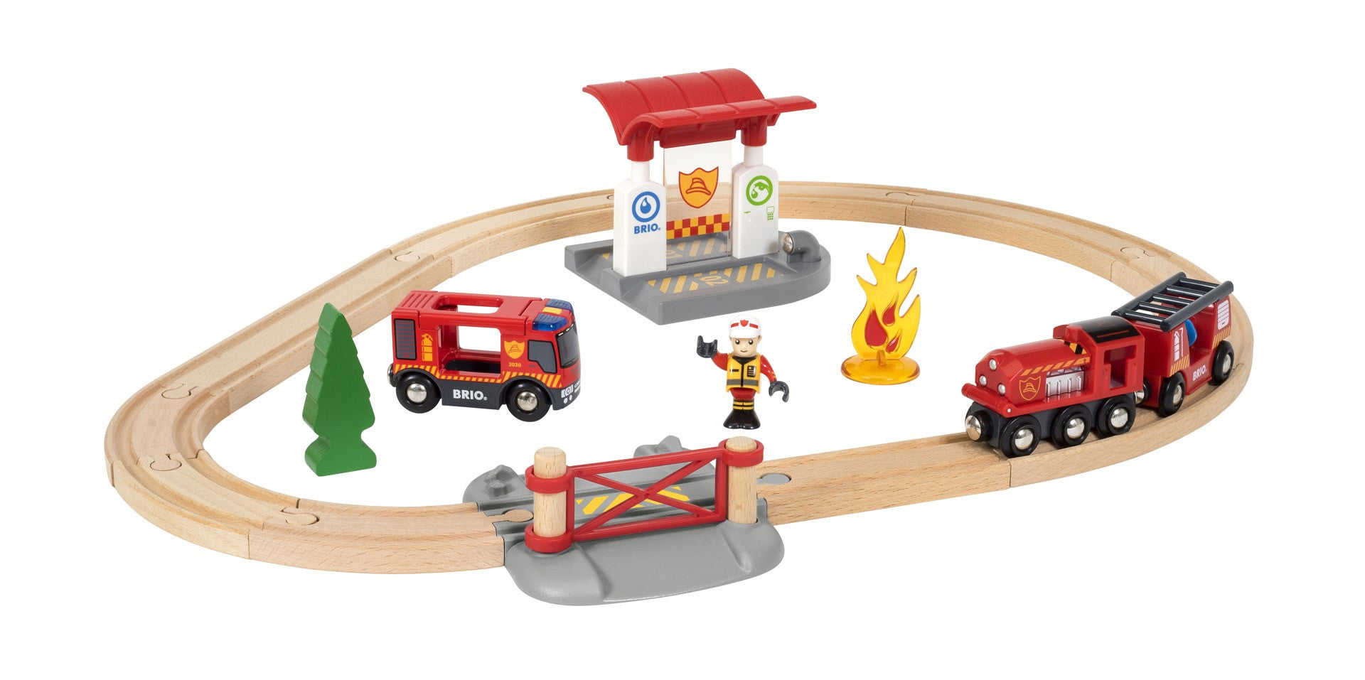 BRIO Train Set - Rescue Fire Flat 33815