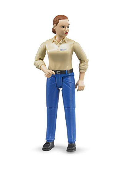 BRUDER - Bworld Woman with light skin tone and blue trousers -  60408