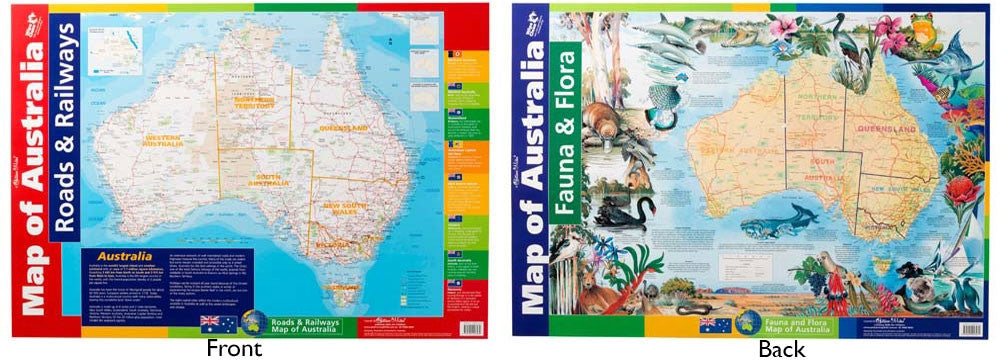 Gillian Miles - Map of Australia Roads/Rail/Flora/Fauna Wall Chart