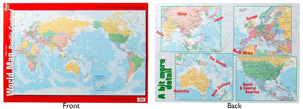 Gillian Miles - Map World Pacific Centred wall chart