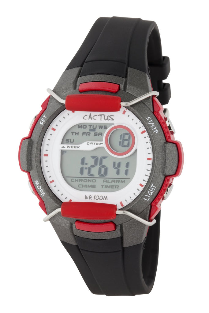 CACTUS Watches - Shield - Tech Time LCD - Digital Kids Watch - Black/Red - CAC-94-M02