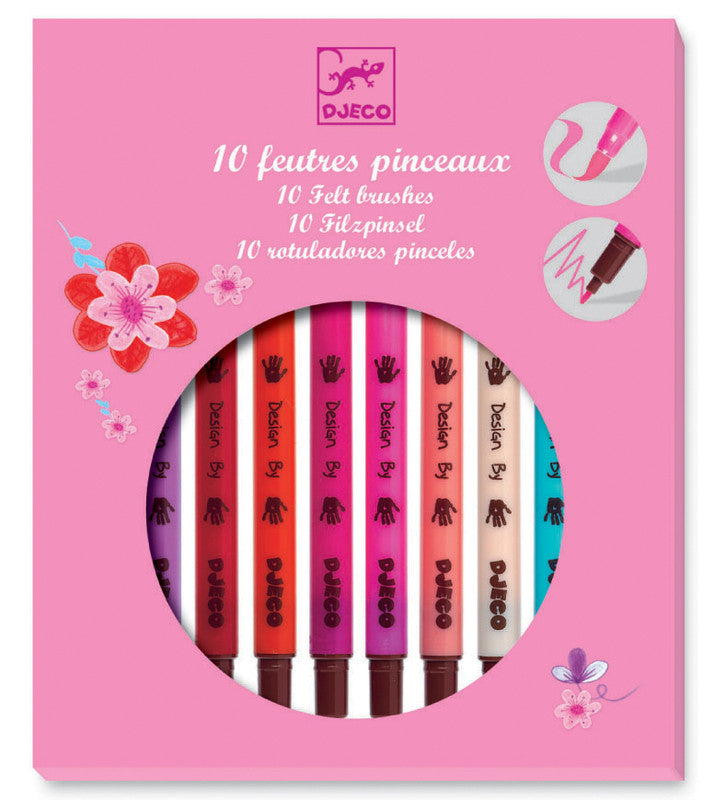 DJECO Art 10 Felt Brushes Girl Colours