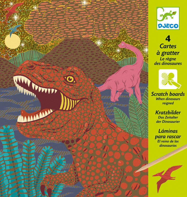 DJECO Art - Scratch Cards - When Dinosaurs Reigned