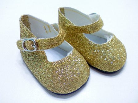 DRESS MY DOLL Shoes Gold Sparkle