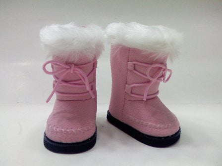 DRESS MY DOLL Boots Pink Suede/Fur