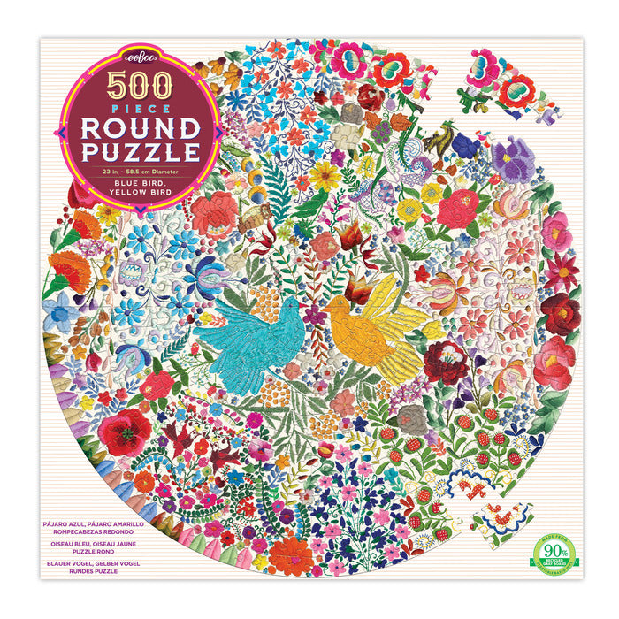 EEBOO -  Puzzle - Bluebirds -  500 Piece Round