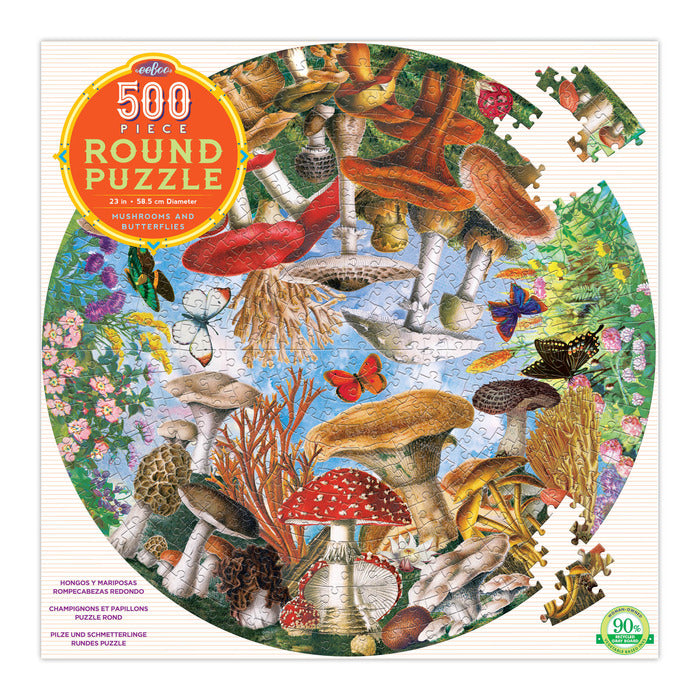 EEBOO -  Puzzle - Mushrooms and Butterflies -  500 Piece Round