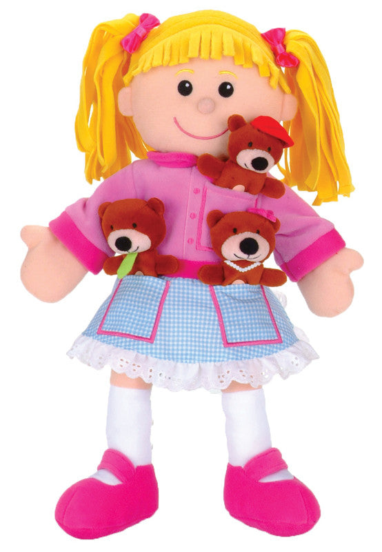 FIESTA CRAFTS Hand Puppet w/finger puppets Goldilocks