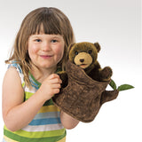 FOLKMANIS HAND PUPPETS Bear In Tree Stump