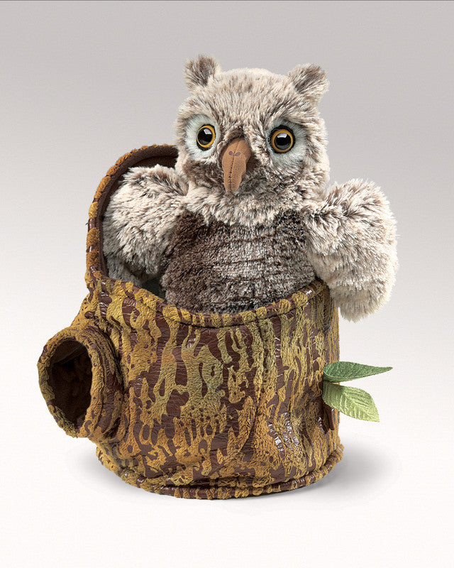 FOLKMANIS HAND PUPPETS Owlet in Tree Stump