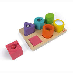 JANOD - Shapes & Sounds Puzzle - 6 block - Sensory