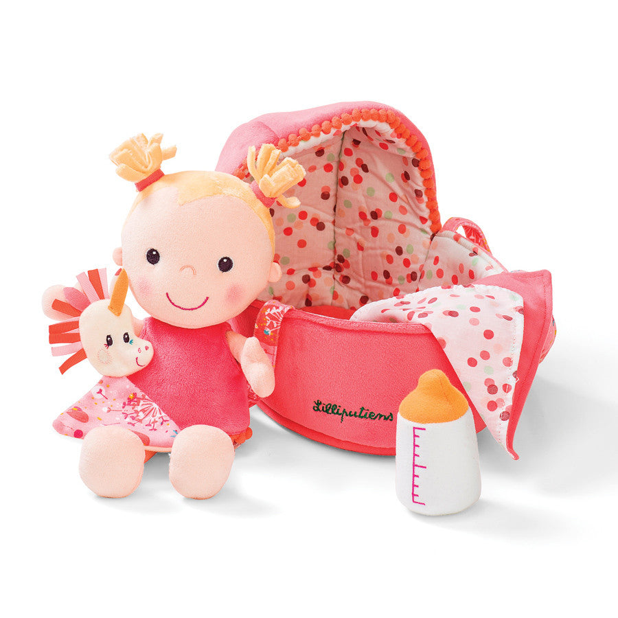Lilliputiens - Doll - Louise with Carry Basket