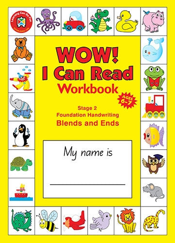 Learning Can Be Fun - Wow! I Can Read - Workbook Stage 2 - Blends & Ends Building Consonants -  Foundation Handwriting