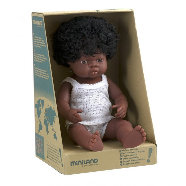 MINILAND Doll African Girl 38cm Anatomically Correct Baby Doll