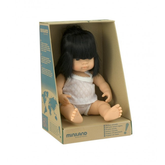 MINILAND Doll Asian Girl 38cm Anatomically Correct Baby Doll