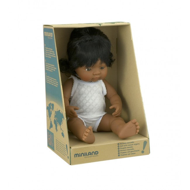 MINILAND Doll Latin American Girl 38cm Anatomically Correct Baby Doll
