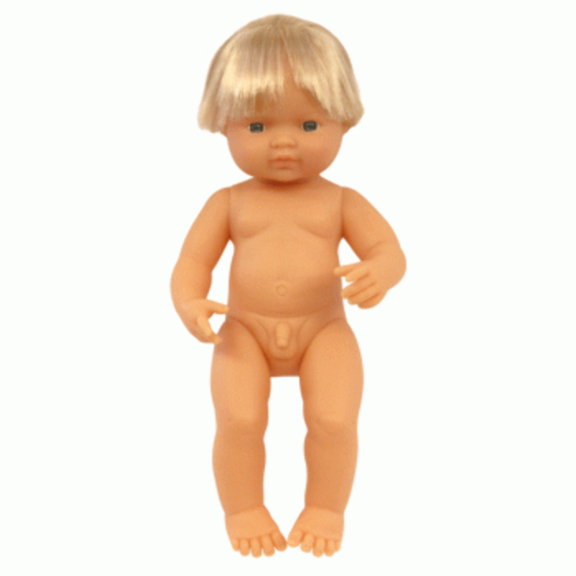 MINILAND Anatomically Correct Baby Doll Caucasian Boy 38cm Polly Bag