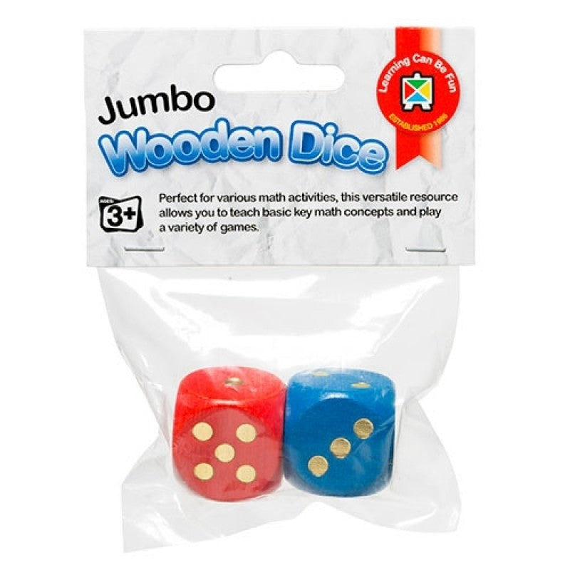 Learning Can Be Fun - Giant Wooden Dice - Set of 2 - 25mm