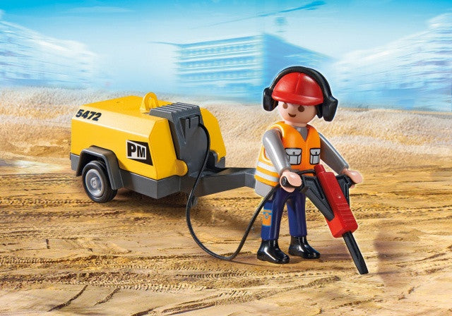 PLAYMOBIL City Action Construction Worker with Jack Hammer 5472