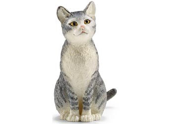 SCHLEICH Cat Sitting - Grey & White - 13771