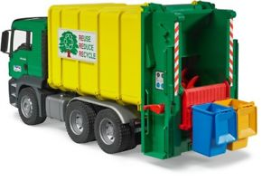 BRUDER -  MAN TGS Rear-loading Garbage Truck  - Green/Yellow- 03764