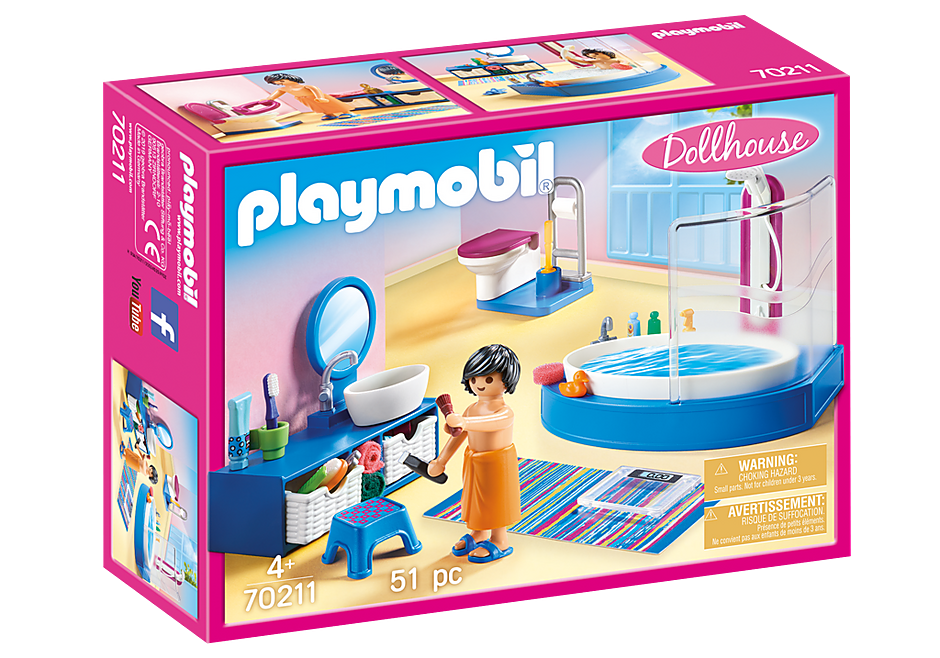 PLAYMOBIL Dollhouse - Modern Bathroom with Bath - 70211