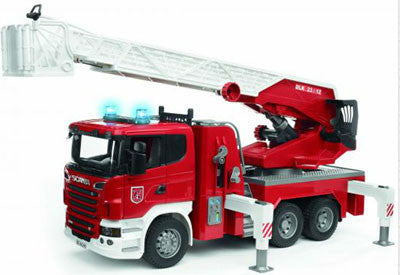 BRUDER - SCANIA R-Series Fire Engine w/water spout,slewing ladder.lights 03590