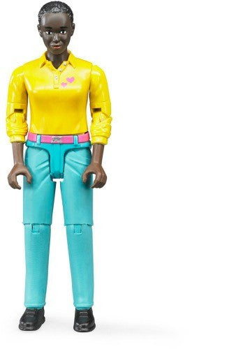 BRUDER - Bworld Woman Dark Skin with Turquoise Jeans 60404