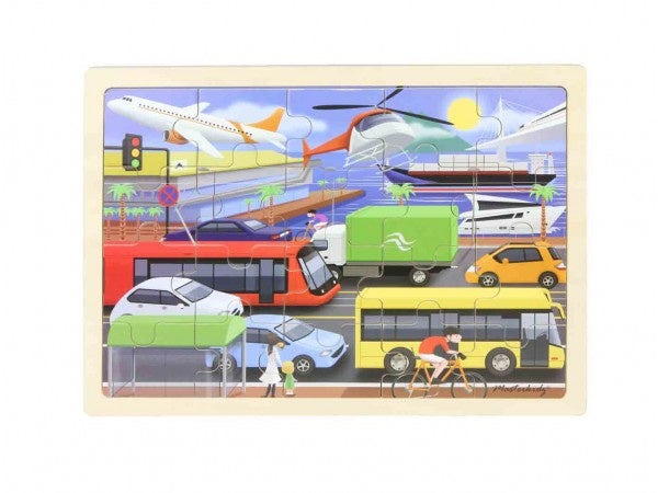 MASTERKIDZ Wooden Puzzle - Transport - 20 Piece