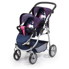 BAYER -  Twin Tandem Pram - Dark Blue w/Pink Hearts & Unicorn