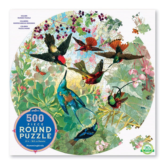 EEBOO - Puzzle - Hummingbirds - 500 Piece Round
