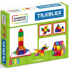 TILEBLOX Rainbow Magnetic Tiles - 30 Piece