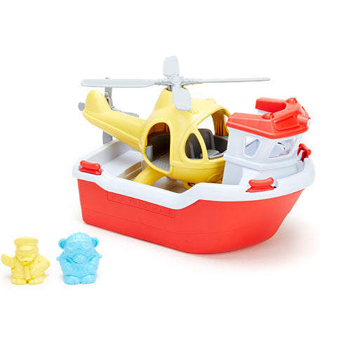 GREEN TOYS Rescue Boat with Helicopter and People