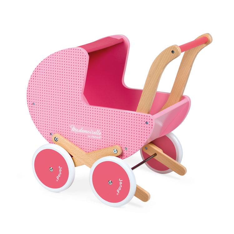 JANOD  Doll Pram Walker - Pink Pin Spot