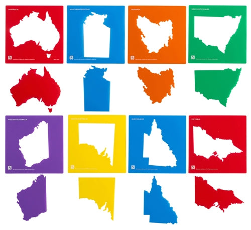 EC Stencils - Australia & State Map - Set of 8
