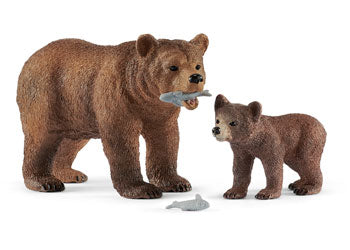 SCHLEICH Grizzly Bear Mother with Cub - SC42473