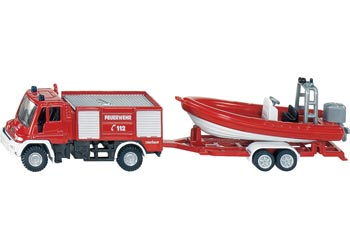SIKU - Fire Engine with Boat - Blister Pack Double