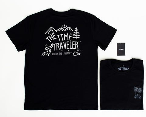 Black - The Time Traveler T-Shirt - Old Tripper