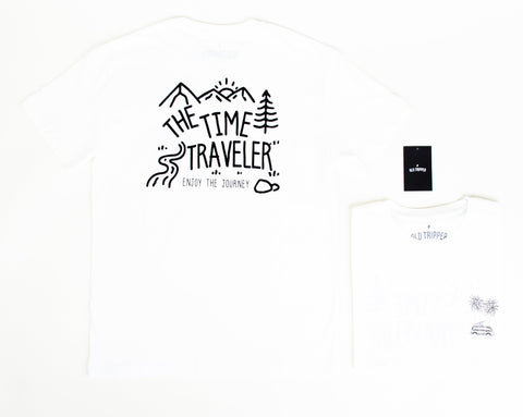 White - The Time Traveler T-Shirt - Old Tripper