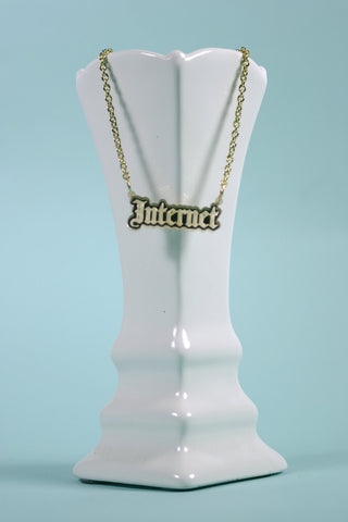 Gothic Internet Gold Mirror Acrylic Necklace seen at MTV.com