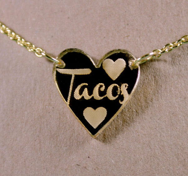 I Double Heart Tacos Gold Mirror Acrylic Necklace
