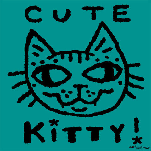 Cute Kitty Tee Shirt for Kids - Teal Green