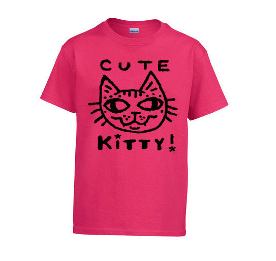 Cute Kitty Tee Shirt for Kids - Fuchsia Pink