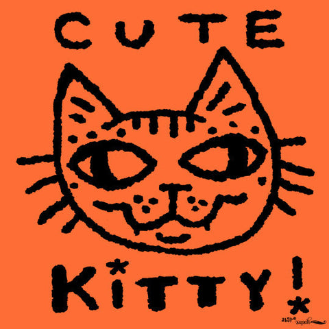 Cute Kitty Tee Shirt for Kids - Orange