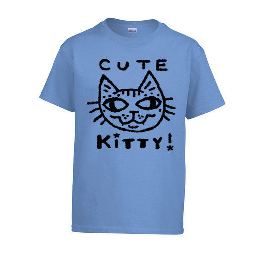 Cute Kitty Tee Shirt for Kids - Blue
